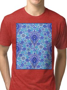 """PAISLEY ART DECO FLOWERED: Colorful Print Tri-blend T-Shirt"