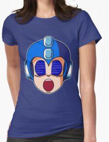 Mega Man Blue Screen Womens Fitted T-Shirt