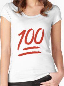 100 Emoji Logo Women's Fitted Scoop T-Shirt
