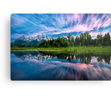 Teton Mountains in Wyoming with Clouds and Reflection Metal Print