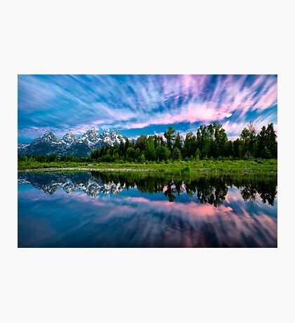 Teton Mountains in Wyoming with Clouds and Reflection Photographic Print