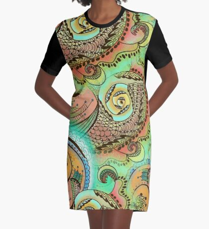 Cornucopia Pattern Graphic T-Shirt Dress