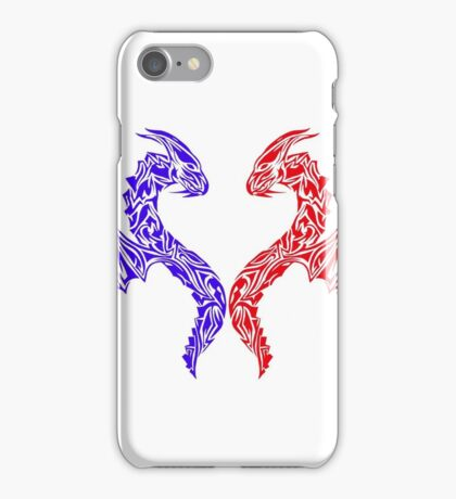 Blue and Red Sea dragons  iPhone Case/Skin
