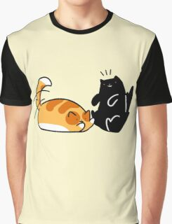 Playful Tabby and Black Cat Graphic T-Shirt