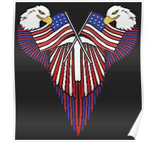 Patriotic wing shield +flags Poster