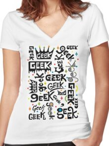 Geek Words Women's Fitted V-Neck T-Shirt