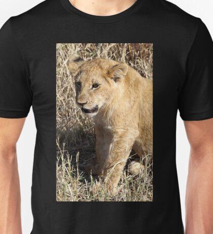 Lion Cub Sitting, Maasai Mara, Kenya  Unisex T-Shirt
