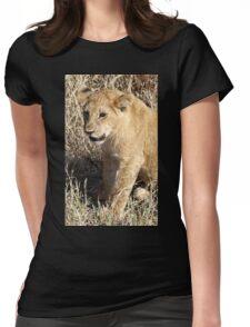 Lion Cub Sitting, Maasai Mara, Kenya  Womens Fitted T-Shirt