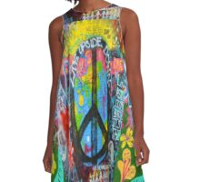 Graffiti Peace Wall A-Line Dress