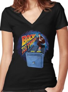 Time and Space Surfer Women's Fitted V-Neck T-Shirt