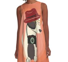 Funny cool Hipster Puppy Dog A-Line Dress