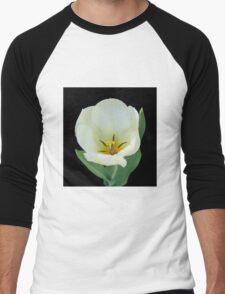 Open White Tulip Men's Baseball ¾ T-Shirt