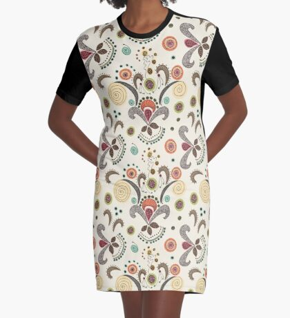 Wired Flower Pattern Graphic T-Shirt Dress