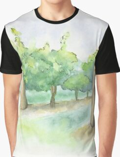 Watercolor Painting of a Vineyard Graphic T-Shirt