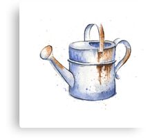 Watercolor Painting of a Rusty Watering Can Spring Canvas Print