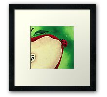 Acrylic Painting of Lady Bug Climbing Up Slice Apple  Framed Print