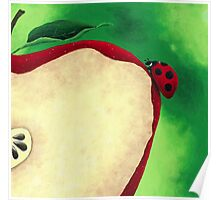 Acrylic Painting of Lady Bug Climbing Up Slice Apple  Poster