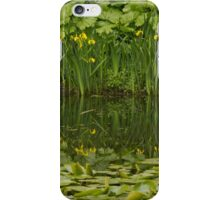 Yellow Flags reflect on pond surface iPhone Case/Skin