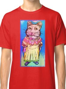 Retro-Cute Fairy Tale Kitty Drawing Classic T-Shirt