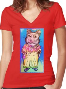 Retro-Cute Fairy Tale Kitty Drawing Women's Fitted V-Neck T-Shirt
