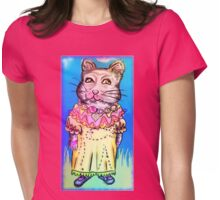 Retro-Cute Fairy Tale Kitty Drawing Womens Fitted T-Shirt