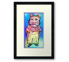 Retro-Cute Fairy Tale Kitty Drawing Framed Print