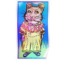 Retro-Cute Fairy Tale Kitty Drawing Poster