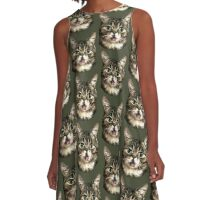 Cute Kitty Cat Art A-Line Dress