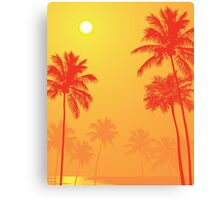 Palm Trees in the Sunset Canvas Print