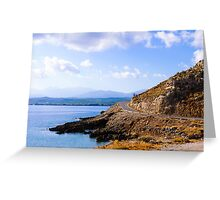 Typical Seascape road in Crete island, Greece Greeting Card