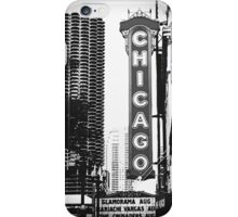 Chicago Theatre Sign in Black and White iPhone Case/Skin