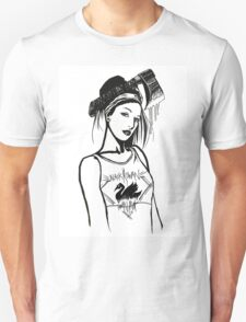 Quan-Yin in a Black Swan Singlet Unisex T-Shirt