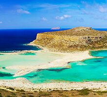Amazing view over Balos Lagoon and Gramvousa island on Crete, Greece by Stanciuc