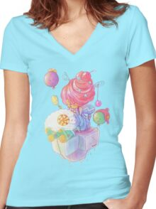 Cream and Sugar Women's Fitted V-Neck T-Shirt