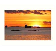 English Bay Sunset - Dragon Boats at Dusk Art Print