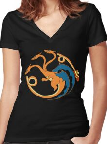 House Charizard Women's Fitted V-Neck T-Shirt