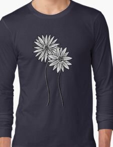 Two Daisies  in Black and White Transparent Background Long Sleeve T-Shirt