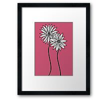 Two Daisies  in Black and White Transparent Background Framed Print