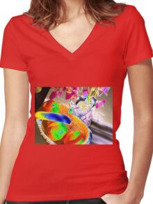 Fruit & flowers - Psychedelic colours Women's Fitted V-Neck T-Shirt