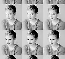 Emma Watson Tiled Black and White Design  by echorose
