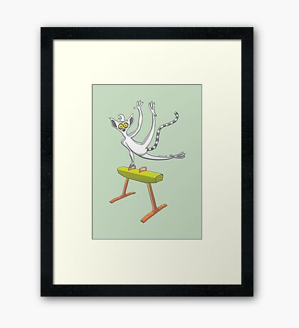 Cool lemur exercising on a pommel horse Framed Print
