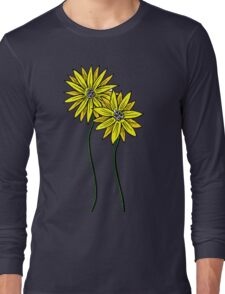 Two Daisies Coloured Yellow with Transparent Background Long Sleeve T-Shirt