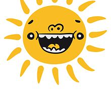Comic Cartoon Funny laughing smiley face sun by Style-O-Mat