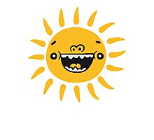Comic Cartoon Funny laughing smiley face sun Photographic Print