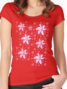 Pink and Yellow Wildflower Women's Fitted Scoop T-Shirt