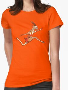 Slender gazelle running and performing a long jump Womens Fitted T-Shirt