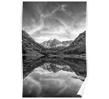 Colorado Images - Maroon Bells Evening black and white 2 Poster