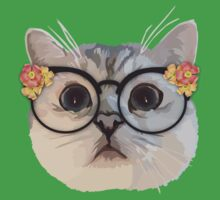 Cat with flower glasses Kids Tee
