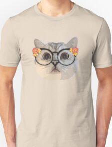 Cat with flower glasses Unisex T-Shirt
