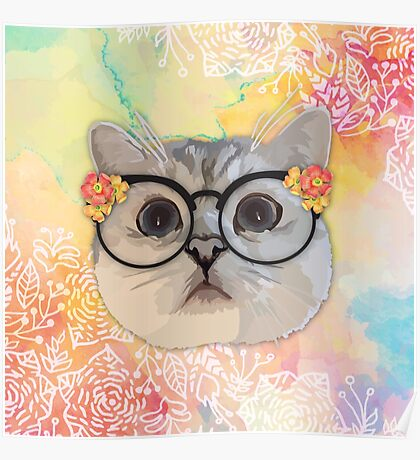 Cat with flower glasses Poster